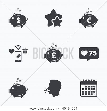 Piggy bank icons. Dollar, Euro and Pound moneybox signs. Cash coin money symbols. Flat talking head, calendar icons. Stars, like counter icons. Vector