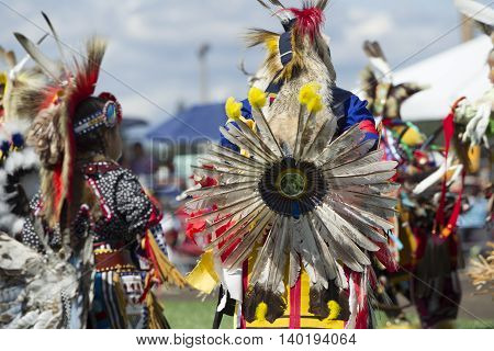 Coeur d'Alene Idaho USA - 07-23-2016. Dance competition at the Powwow. Young dancers participate in the Julyamsh Powwow on July 23 2016 at the Kootenai County Fairgrounds in Coeur d'Alene Idaho.