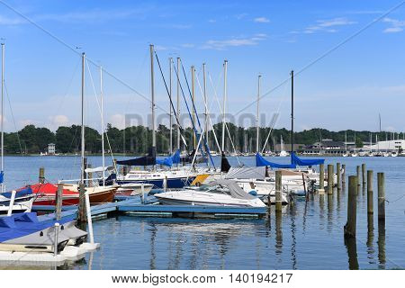 Harbor in Holland Michigan with sailboats on lake
