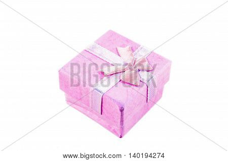 Classic purple color paper small gift box for present wrapping with white background