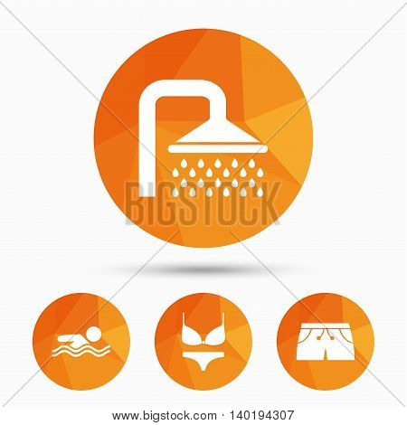 Swimming pool icons. Shower water drops and swimwear symbols. Human swims in sea waves sign. Trunks and women underwear. Triangular low poly buttons with shadow. Vector