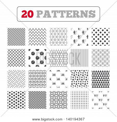 Ornament patterns, diagonal stripes and stars. Diagram graph Pie chart icon. Presentation billboard symbol. Supply and demand. Man standing with pointer. Geometric textures. Vector