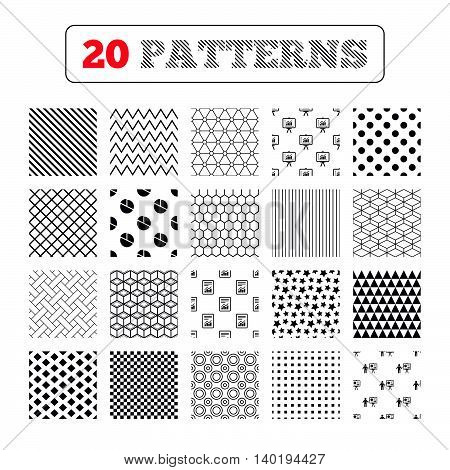 Ornament patterns, diagonal stripes and stars. File document with diagram. Pie chart icon. Presentation billboard symbol. Supply and demand. Geometric textures. Vector