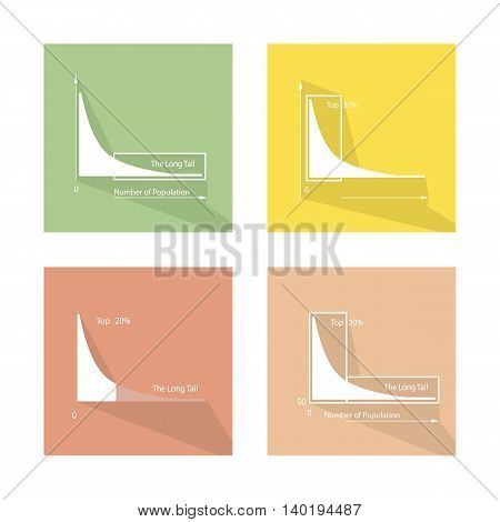 Charts and Graphs, Illustration Collection of Fat Tailed and Long Tailed Distributions Chart Label.