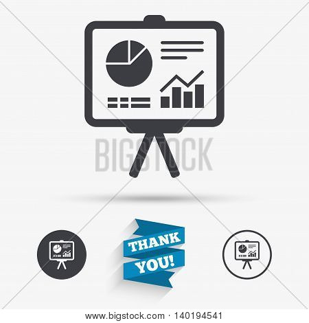 Presentation billboard sign icon. Scheme and Diagram symbol. Flat icons. Buttons with icons. Thank you ribbon. Vector