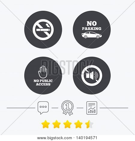 Stop smoking and no sound signs. Private territory parking or public access. Cigarette and hand symbol. Chat, award medal and report linear icons. Star vote ranking. Vector