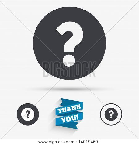 Question mark sign icon. Help symbol. FAQ sign. Flat icons. Buttons with icons. Thank you ribbon. Vector