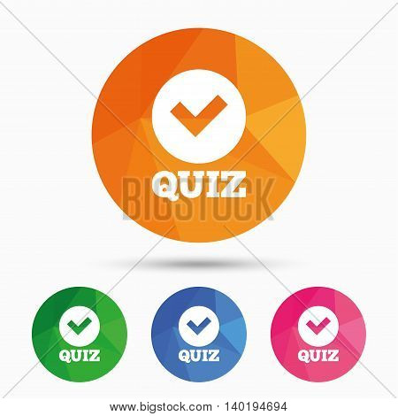 Quiz with check sign icon. Questions and answers game symbol. Triangular low poly button with flat icon. Vector