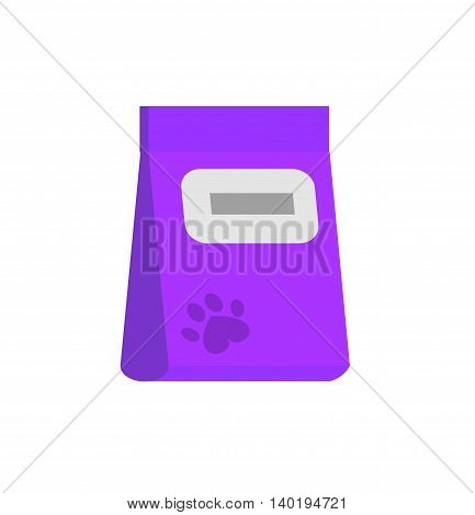 bag of food for pets icon. Flat style vector illustration