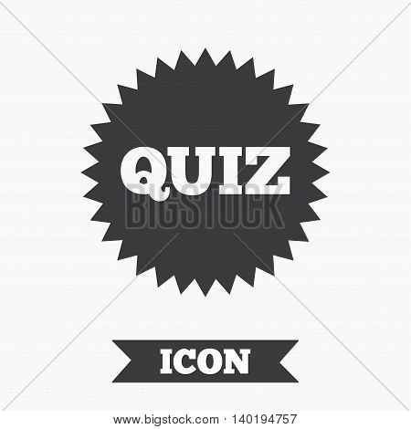Quiz star sign icon. Questions and answers game symbol. Graphic design element. Flat quiz star symbol on white background. Vector