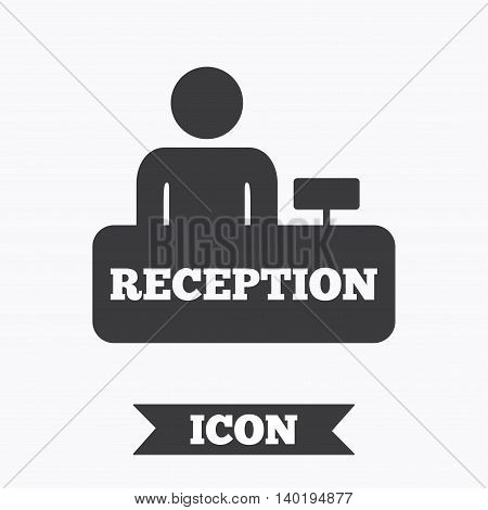 Reception sign icon. Hotel registration table with administrator symbol. Graphic design element. Flat reception symbol on white background. Vector