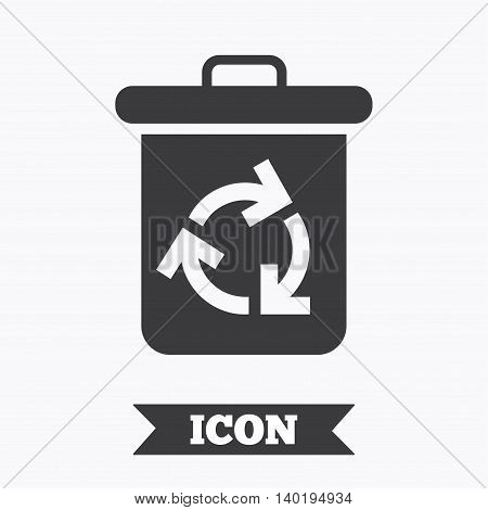 Recycle bin icon. Reuse or reduce symbol. Graphic design element. Flat recycle bin symbol on white background. Vector