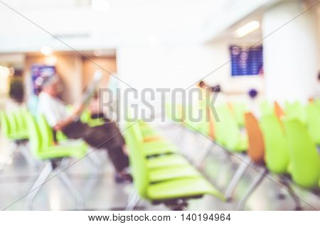 Blur Patient Waiting For See Doctor At Hospital,abstract Background