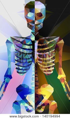 Polygonal skeleton. low poly illustration. Polygonal creative poster