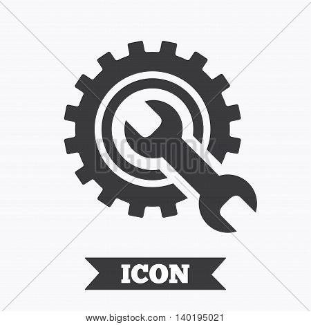 Repair tool sign icon. Service symbol. Hammer with wrench. Graphic design element. Flat service symbol on white background. Vector