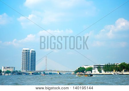 Landscape Of Chao Phar Ya River With City Building View ,bangkok Thailand