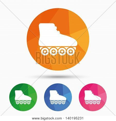 Roller skates sign icon. Rollerblades symbol. Triangular low poly button with flat icon. Vector