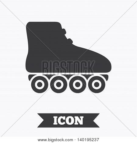 Roller skates sign icon. Rollerblades symbol. Graphic design element. Flat roller skates symbol on white background. Vector