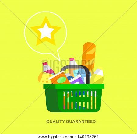 Concept illustration for Shop, supermarket. Vector supermarket cart. Healthy eating and eco food