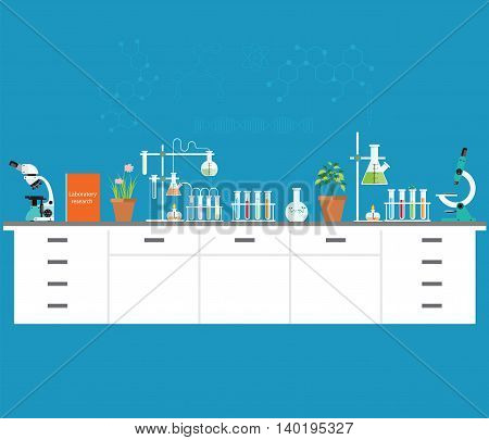 Chemical laboratory science and technology Scientists workplace concept. Science education chemistry experiment laboratory concept flat design vector illustration.