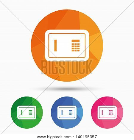 Safe sign icon. Deposit lock symbol. Protection for your documents in hotel. Triangular low poly button with flat icon. Vector