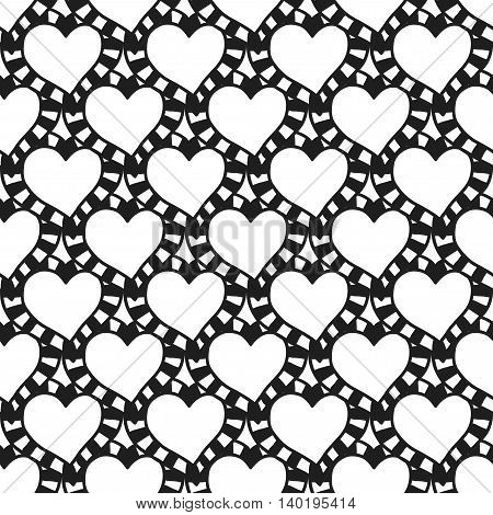 Black and white seamless pattern with decorative hearts for coloring book. Vector illustration