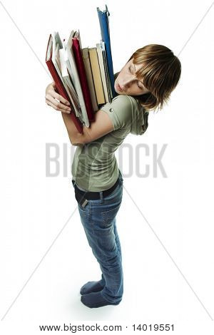 Young woman with heap of papers