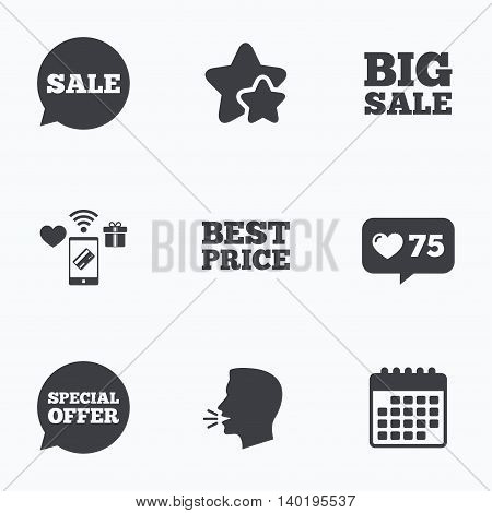Sale icons. Special offer speech bubbles symbols. Big sale and best price shopping signs. Flat talking head, calendar icons. Stars, like counter icons. Vector