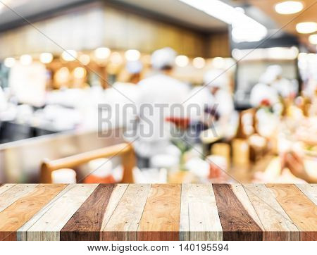 Empty Wood Table And Blurred Restaurant Light Background. Product Display Template.business Presenta