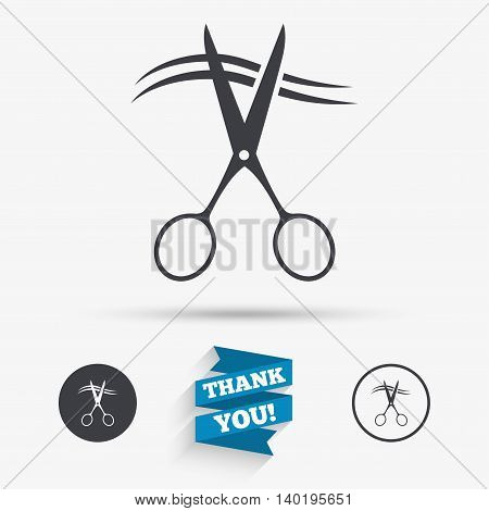 Scissors cut hair sign icon. Hairdresser or barbershop symbol. Flat icons. Buttons with icons. Thank you ribbon. Vector