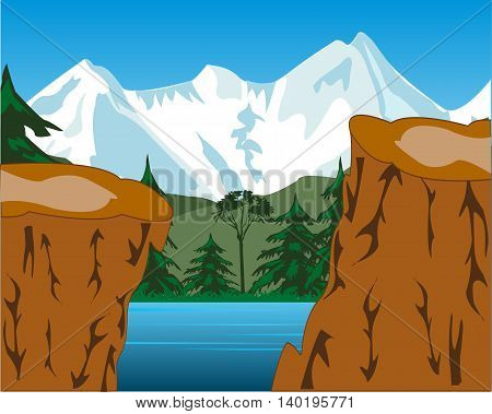 The Beautiful landscape of the snow mountains and yard.Vector illustration