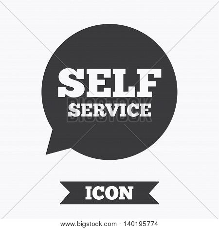 Self service sign icon. Maintenance symbol in speech bubble. Graphic design element. Flat self service symbol on white background. Vector