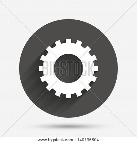 Cog settings sign icon. Cogwheel gear mechanism symbol. Circle flat button with shadow. Vector
