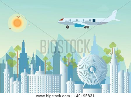 Morning city skyline on city view background and mountains Buildings silhouette cityscape with Plane flying over urban city flat design Vector illustration