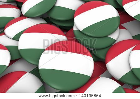 Hungary Badges Background - Pile Of Hungarian Flag Buttons 3D Illustration