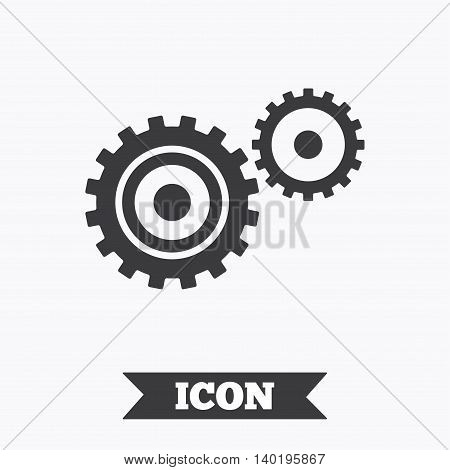 Cog settings sign icon. Cogwheel gear mechanism symbol. Graphic design element. Flat cogwheel symbol on white background. Vector