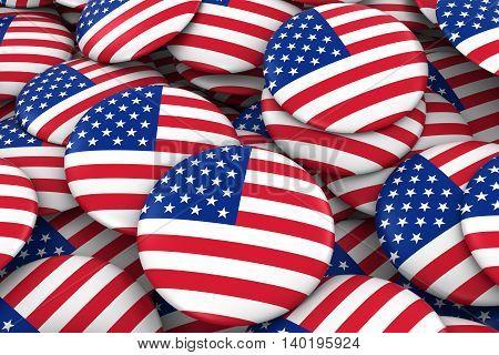United States Badges Background - Pile Of Us Flag Buttons 3D Illustration