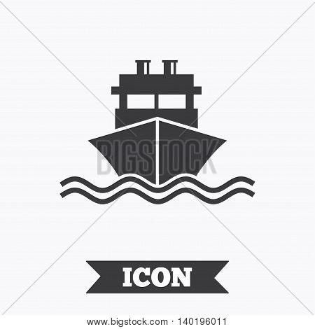 Ship or boat sign icon. Shipping delivery symbol. With chimneys or pipes. Graphic design element. Flat shipping delivery symbol on white background. Vector