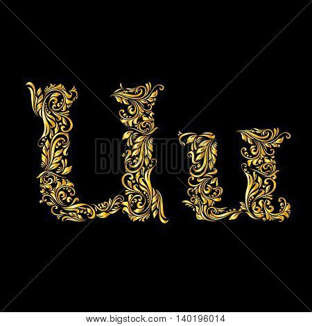 Richly decorated letter 'u' in upper and lower case.