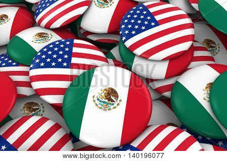 Usa And Mexico Badges Background - Pile Of American And Mexican Flag Buttons 3D Illustration