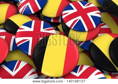 Belgium And Uk Badges Background - Pile Of Belgian And British Flag Buttons 3D Illustration