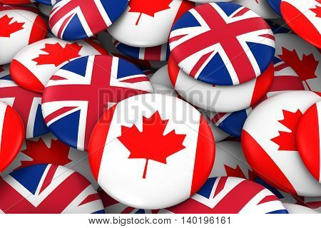 Canada And Uk Badges Background - Pile Of Canadian And British Flag Buttons 3D Illustration