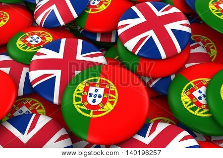 Portugal And Uk Badges Background - Pile Of Portuguese And British Flag Buttons 3D Illustration