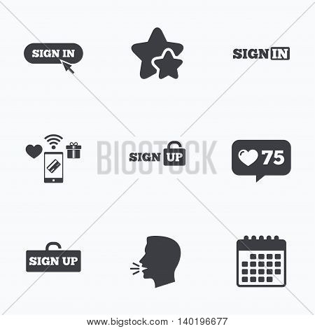 Sign in icons. Login with arrow, hand pointer symbols. Website or App navigation signs. Sign up locker. Flat talking head, calendar icons. Stars, like counter icons. Vector