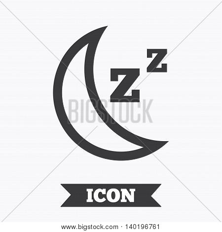 Sleep sign icon. Moon with zzz button. Standby. Graphic design element. Flat sleep symbol on white background. Vector