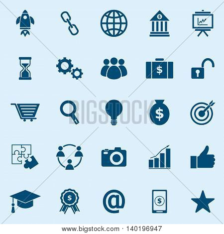 Start up color icons on blue background, stock vector