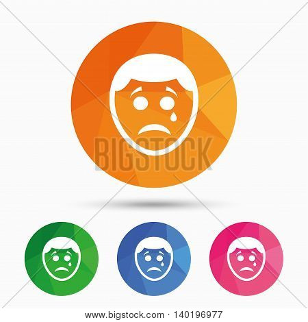 Sad face with tear sign icon. Crying chat symbol. Triangular low poly button with flat icon. Vector