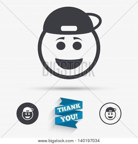 Smile rapper face sign icon. Happy smiley with hairstyle chat symbol. Flat icons. Buttons with icons. Thank you ribbon. Vector