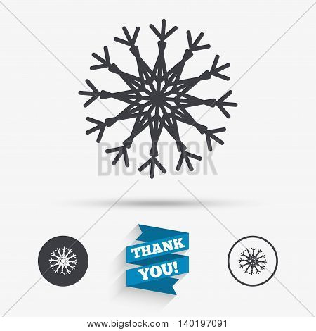 Snowflake artistic sign icon. Christmas and New year winter symbol. Air conditioning symbol. Flat icons. Buttons with icons. Thank you ribbon. Vector