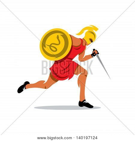 Gladiator in a helmet runs with shield and dagger. Isolated on a white background